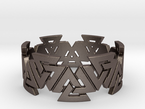 Valknut Ring. Sizes available  in links below. in Polished Bronzed Silver Steel