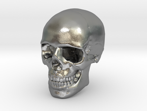 8mm 0.3in Human Skull for earring in Natural Silver