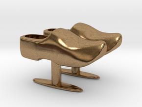 Wooden Shoe Cufflink / Klomp manchetknoop in Natural Brass