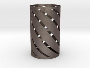 Spiral Pen Holder in Polished Bronzed Silver Steel