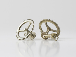 Bicycle Chainring Cufflinks in Polished Silver