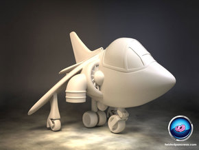 Cartoon Harrier Jump Jet in White Strong & Flexible Polished