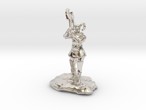 Tiefling Paladin Mini in Plate with Great Axe in Platinum