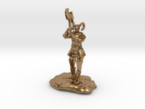 Tiefling Paladin Mini in Plate with Great Axe in Natural Brass