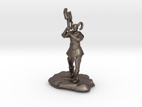 Tiefling Paladin Mini in Plate with Great Axe in Polished Bronzed Silver Steel