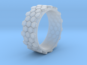Hexagonal Ring - EU Size 58 in Smooth Fine Detail Plastic