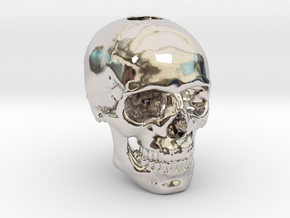 25mm 1in Keychain Bead Human Skull in Platinum