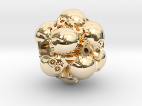 Spin-Down Ossuary d20 in 14K Yellow Gold