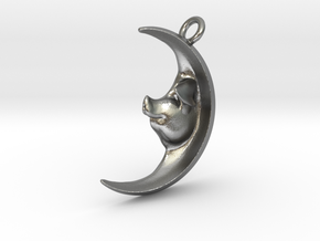 Pig in the Moon Pendant in Natural Silver