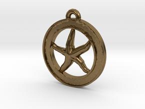 Starfish Circle-pendant in Natural Bronze