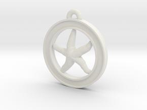Starfish Circle-pendant in White Natural Versatile Plastic
