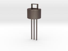 Transistor Pendant in Polished Bronzed Silver Steel