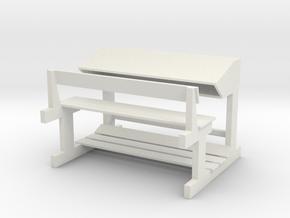 Bange (Albanian school desk) - 1:100 in White Natural Versatile Plastic