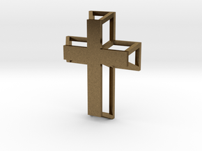 3D Framed Cross Pendant in Natural Bronze
