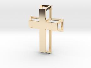 3D Framed Cross Pendant in 14K Yellow Gold