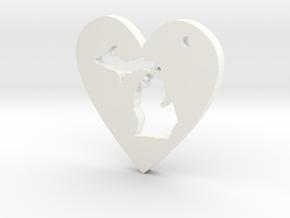 I love Michigan Necklace in White Processed Versatile Plastic