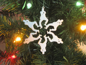 Snowflake Gangnam Style Ornament in White Natural Versatile Plastic