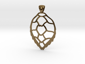 Hawksbill sea turtle pendant in Polished Bronze