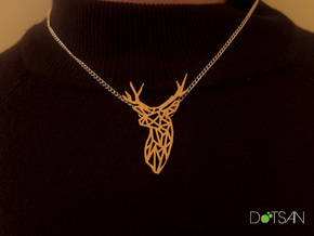 Stag Trophy Head Pendant Broach in Matte Gold Steel
