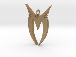 "Pendentif Bionicle - ""M"" (Makuta) in Matte Gold Steel"