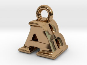 3D Monogram Pendant - ABF1 in Polished Brass