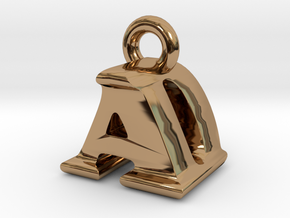 3D Monogram Pendant - ADF1 in Polished Brass