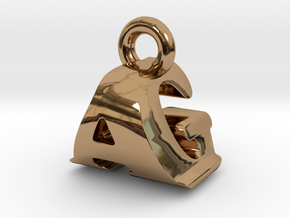 3D Monogram Pendant - AGF1 in Polished Brass
