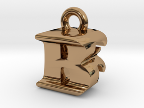 3D Monogram Pendant - BFF1 in Polished Brass