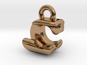 3D Monogram Pendant - CJF1 in Polished Brass