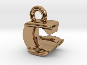 3D Monogram Pendant - GLF1 in Polished Brass