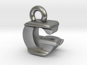 3D Monogram Pendant - GLF1 in Natural Silver