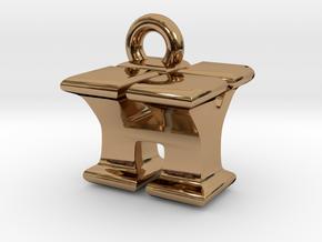 3D Monogram Pendant - HYF1 in Polished Brass