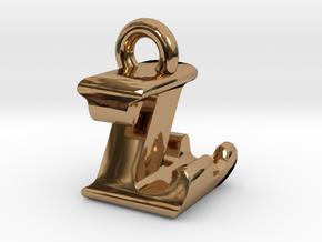 3D Monogram Pendant - LZF1 in Polished Brass