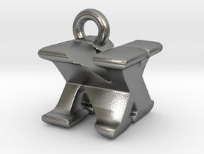 3D Monogram Pendant - NXF1 in Natural Silver