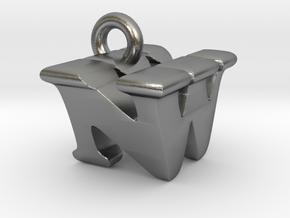 3D Monogram Pendant - NWF1 in Natural Silver