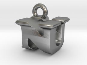 3D Monogram Pendant - NUF1 in Natural Silver
