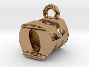 3D Monogram Pendant - OMF1 in Polished Brass