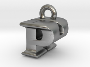 3D Monogram Pendant - PHF1 in Natural Silver