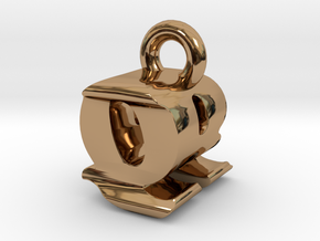 3D Monogram - QRF1 in Polished Brass