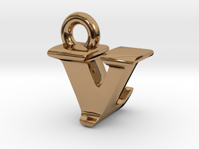3D Monogram - VLF1 in Polished Brass