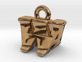 3D Monogram - WAF1 in Polished Brass
