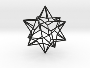 Stellated Dodecahedron in Black Natural Versatile Plastic