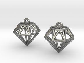 Diamond Earrings in Natural Silver