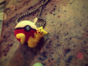 Pikachu on a Pokeball Charm in White Processed Versatile Plastic