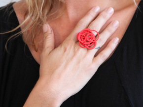 Circle Ring  size 7 in Red Processed Versatile Plastic