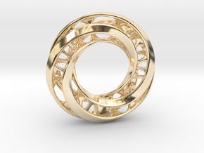 Mobius Ring Pendant v4 in 14K Yellow Gold