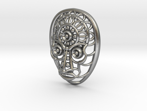 Face Pendant in Natural Silver