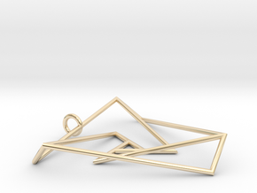 Impossible triangle pendant with a twist in 14K Yellow Gold