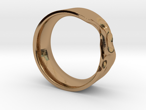 The Crumple Ring - 17mm Dia in Polished Brass