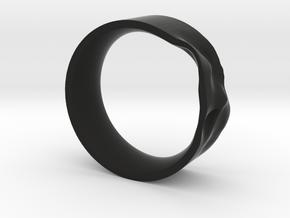 The Crumple Ring - 21mm Dia in Black Natural Versatile Plastic